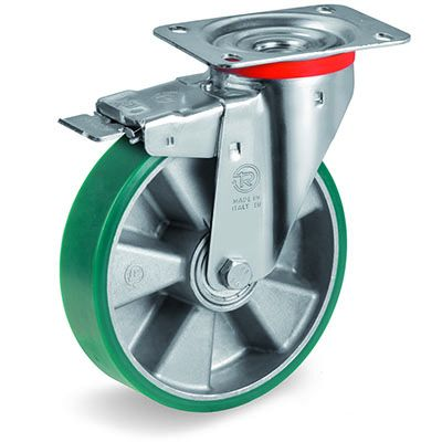 TR Roll Elastic Polyurethane with Thin Tyre and Aluminium Centre, Swivel Top Plate Castor with Brake, NL Duty