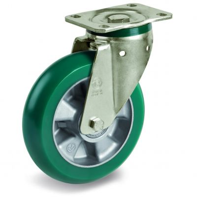 TR Roll Polyurethane Tyre with Ergonomic Round Profile Bonded to Aluminium Centre, Swivel Top Plate Castor, PT Duty