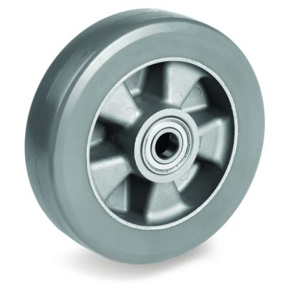 Elastic Polyurethane Tyre with Electrical Resistance and Aluminium Centre, Wheel, Ball Bearing