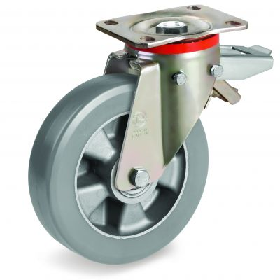 Elastic Polyurethane Tyre with Electrical Resistance and Aluminium Centre, Swivel Top Plate Castor with Brake, P Duty