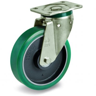 TR Roll Polyurethane Tyre with Cast Iron Centre, Swivel Top Plate Castor, PT Duty