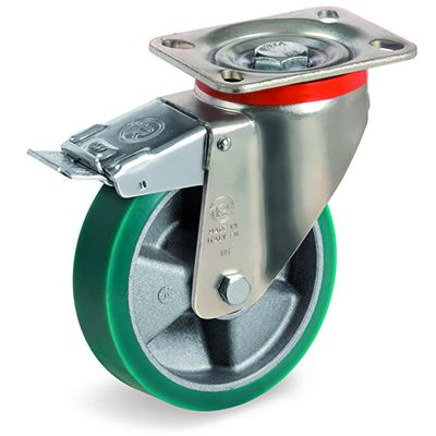 TR Roll Elastic Polyurethane with Thin Tyre and Aluminium Centre, Swivel Top Plate Castor with Brake, P Duty