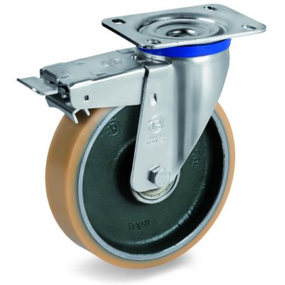 Vulkollan Tyre with Forged Steel Centre, Swivel Top Plate Castor with Brake, M Duty