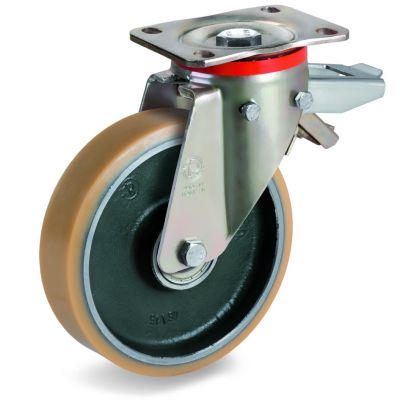Vulkollan Tyre with Forged Steel Centre, Swivel Top Plate Castor with Brake, P Duty