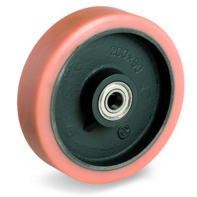 Vulkollan Tyre with Cast Iron Centre, Wheel, Ball Bearing