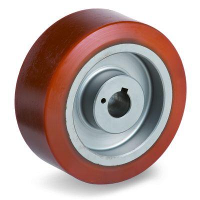 Cast Polyurethane Tyre Bonded to Cast Iron Centre, Keyway Wheel
