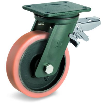Vulkollan Tyre with Cast Iron Centre, Electro Welded Swivel Top Plate Castor with Brake, EE HD Duty