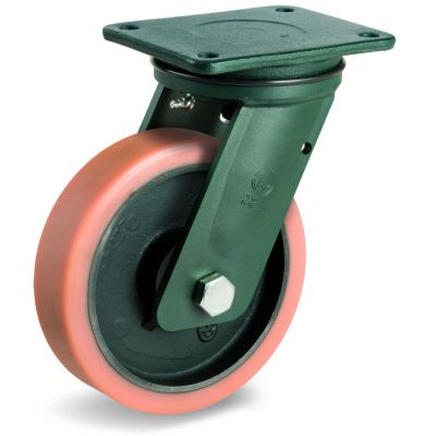 Vulkollan Tyre with Cast Iron Centre, Electro Welded Swivel Top Plate Castor, EE HD Duty