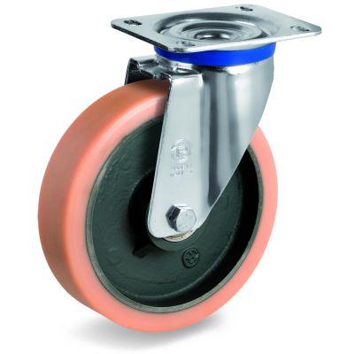 Vulkollan Tyre with Cast Iron Centre, Swivel Top Plate Castor, M Duty