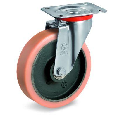 Vulkollan Tyre with Cast Iron Centre, Swivel Top Plate Castor, NL Duty