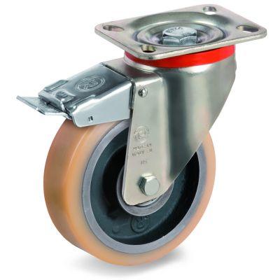 Vulkollan Tyre with Cast Iron Centre, Swivel Top Plate Castor with Brake, P Duty