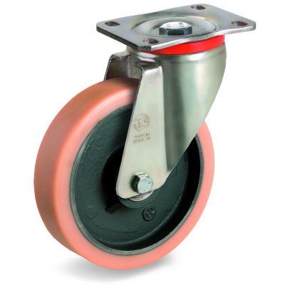 Vulkollan Tyre with Cast Iron Centre, Swivel Top Plate Castor, P Duty
