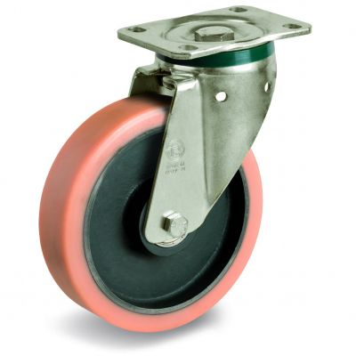 Vulkollan Tyre with Cast Iron Centre, Swivel Top Plate Castor, PT Duty