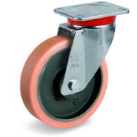 Vulkollan Tyre with Cast Iron Centre, Swivel Top Plate Castor, EP Duty