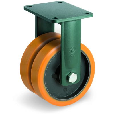 Cast Polyurethane Tyre Bonded to Cast Iron Centre, Electro Welded Twin Wheel Fixed Top Plate Castor, EEG EHD Duty
