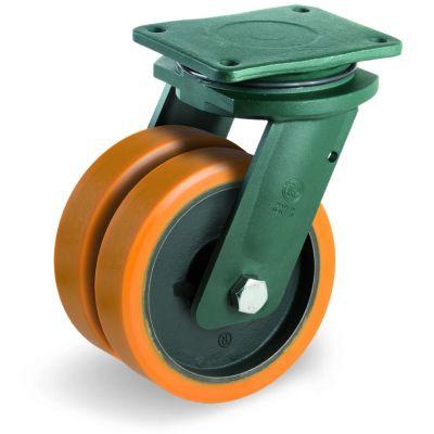 Cast Polyurethane Tyre Bonded to Cast Iron Centre, Electro Welded Twin Wheel Swivel Top Plate Castor, EEG HD Duty