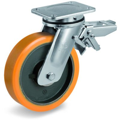 Cast Polyurethane Tyre Bonded to Cast Iron Centre, Electro Welded Swivel Top Plate Castor with Brake, EE MHD Duty