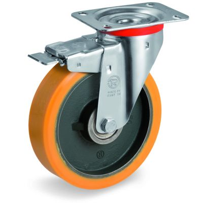 Cast Polyurethane Tyre Bonded to Cast Iron Centre, Swivel Top Plate Castor with Brake, NL Duty