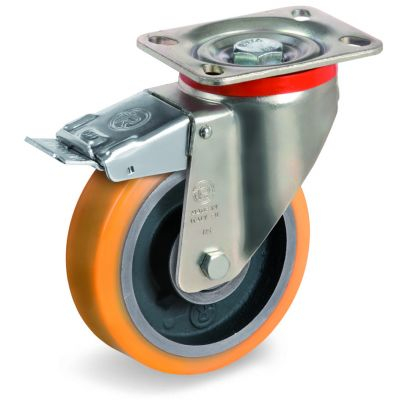 Cast Polyurethane Tyre Bonded to Cast Iron Centre, Swivel Top Plate Castor with Brake, P Duty