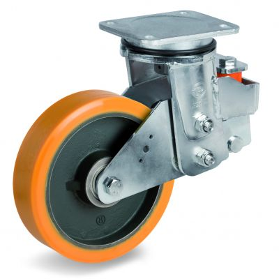 Cast Polyurethane Tyre Bonded to Cast Iron Centre, Electro Welded Swivel Top Plate Castor, EES MHD Duty
