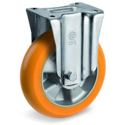 TR Roll Polyurethane Tyre, Ergonomic Round Profile Tyre and Aluminium Centre, Fixed Top Plate Castor, M Duty