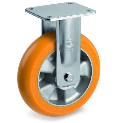 TR Roll Polyurethane Tyre, Ergonomic Round Profile Tyre and Aluminium Centre, Fixed Top Plate Castor, EE MHD Duty
