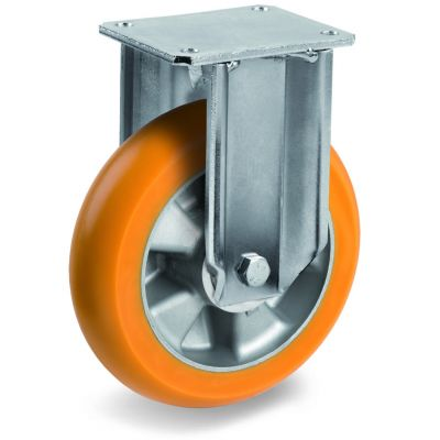 TR Roll Polyurethane Tyre, Ergonomic Round Profile Tyre and Aluminium Centre, Fixed Top Plate Castor, EP Duty