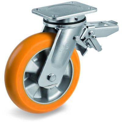 TR Roll Polyurethane Tyre, Ergonomic Round Profile Tyre and Aluminium Centre, Swivel Top Plate Castor with Brake, EE MHD Duty
