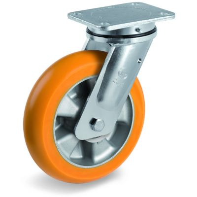 TR Roll Polyurethane Tyre, Ergonomic Round Profile Tyre and Aluminium Centre, Swivel Top Plate Castor, EE MHD Duty