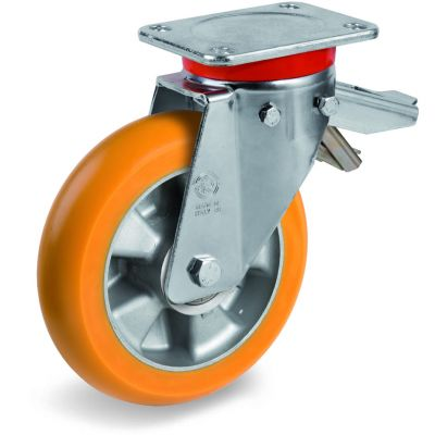 TR Roll Polyurethane Tyre, Ergonomic Round Profile Tyre and Aluminium Centre, Swivel Top Plate Castor with Brake, EP Duty