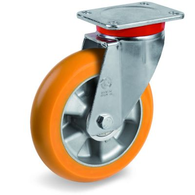 TR Roll Polyurethane Tyre, Ergonomic Round Profile Tyre and Aluminium Centre, Swivel Top Plate Castor, EP Duty