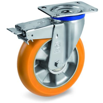TR Roll Polyurethane Tyre, Ergonomic Round Profile Tyre and Aluminium Centre, Swivel Top Plate Castor with Brake, M Duty