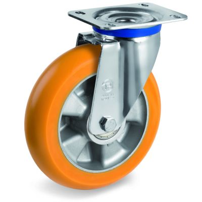 TR Roll Polyurethane Tyre, Ergonomic Round Profile Tyre and Aluminium Centre, Swivel Top Plate Castor, M Duty