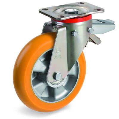 TR Roll Polyurethane Tyre, Ergonomic Round Profile Tyre and Aluminium Centre, Swivel Top Plate Castor with Brake, P Duty