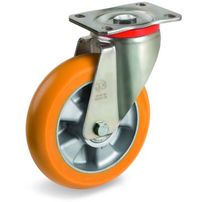 TR Roll Polyurethane Tyre, Ergonomic Round Profile Tyre and Aluminium Centre, Swivel Top Plate Castor, P Duty