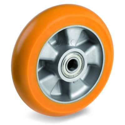 TR Roll Polyurethane Tyre, Ergonomic Round Profile Tyre and Aluminium Centre, Wheel, Ball Bearing Facility
