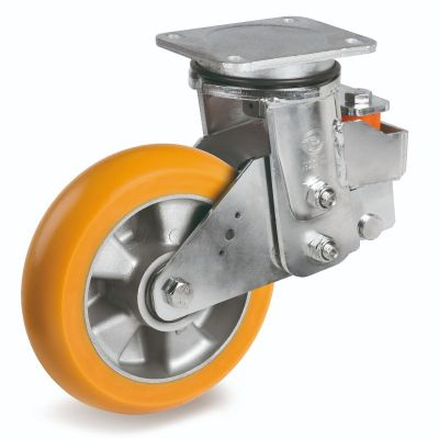 TR Roll Polyurethane Tyre, Ergonomic Round Profile Tyre and Aluminium Centre, Swivel Top Plate Castor, EES MHD Duty