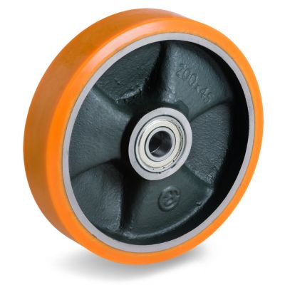 Cast Polyurethane Tyre Bonded to Cast Iron Centre, Wheel, Ball Bearing Facility