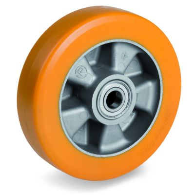 Special Thickness Polyurethane Tyre with Aluminium Centre, Wheel, Ball Bearing Facility