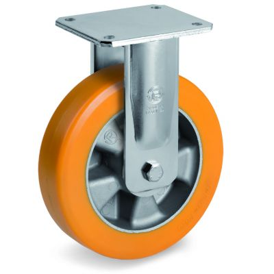 Special Thickness Polyurethane Tyre with Aluminium Centre, Electro Welded Fixed Top Plate Castor, EE MHD Duty