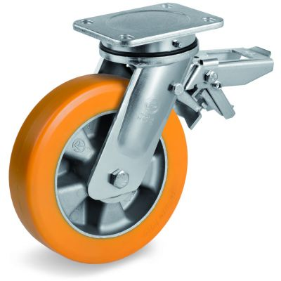Special Thickness Polyurethane Tyre with Aluminium Centre, Electro Welded Swivel Top Plate Castor with Brake, EE MHD Duty
