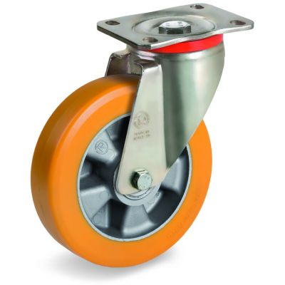 Special Thickness Polyurethane Tyre with Aluminium Centre, Swivel Top Plate Castor, P Duty