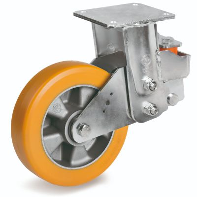 TR Roll Polyurethane Tyre, Ergonomic Round Profile Tyre and Aluminium Centre, Fixed Top Plate Castor, EES MHD Duty