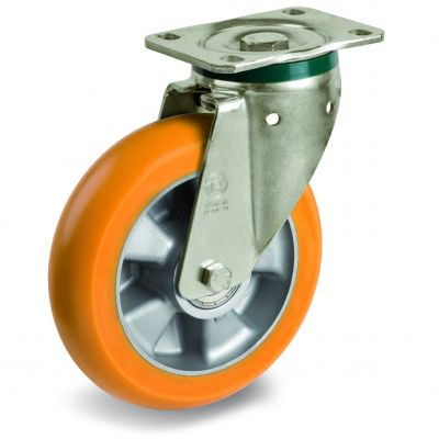 TR Roll Polyurethane Tyre, Ergonomic Round Profile Tyre and Aluminium Centre, Swivel Top Plate Castor, PT Duty