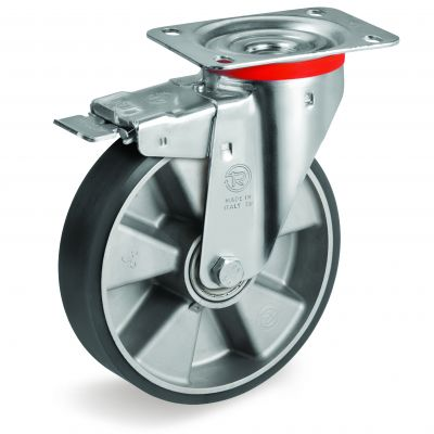 TR Polyurethane Tyre with Electrical Resistance and Aluminium Centre, Swivel Top Plate Castor with Brake, NL Duty