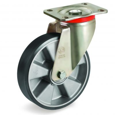 TR Polyurethane Tyre with Electrical Resistance and Aluminium Centre, Swivel Top Plate Castor, P Duty