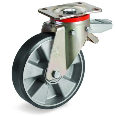 TR Polyurethane Tyre with Electrical Resistance and Aluminium Centre, Swivel Top Plate Castor with Brake, P Duty