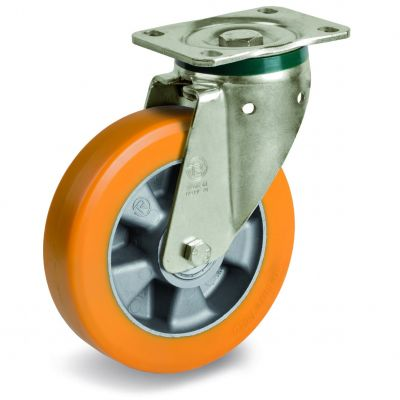 Special Thickness Polyurethane Tyre with Aluminium Centre, Swivel Top Plate Castor, PT Duty