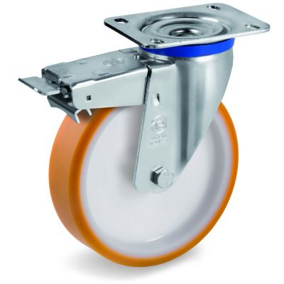 Cast Polyurethane Tyre Bonded to Nylon Centre, Swivel Top Plate Castor with Brake, M Duty