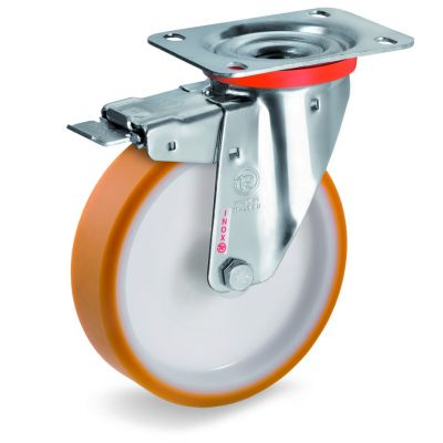 Cast Polyurethane Tyre Bonded to Nylon Centre, Stainless Steel Swivel Top Plate Castor with Brake, NLX duty